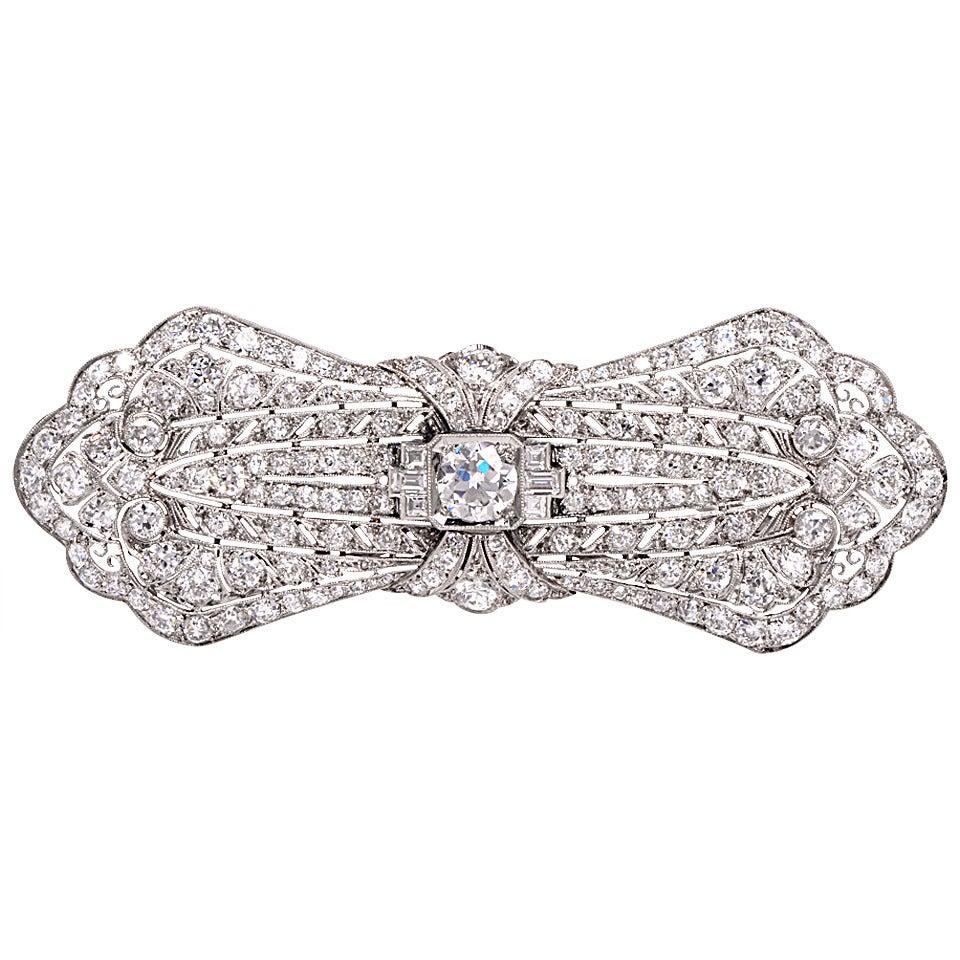 1930s Diamond Platinum Pin Pendant