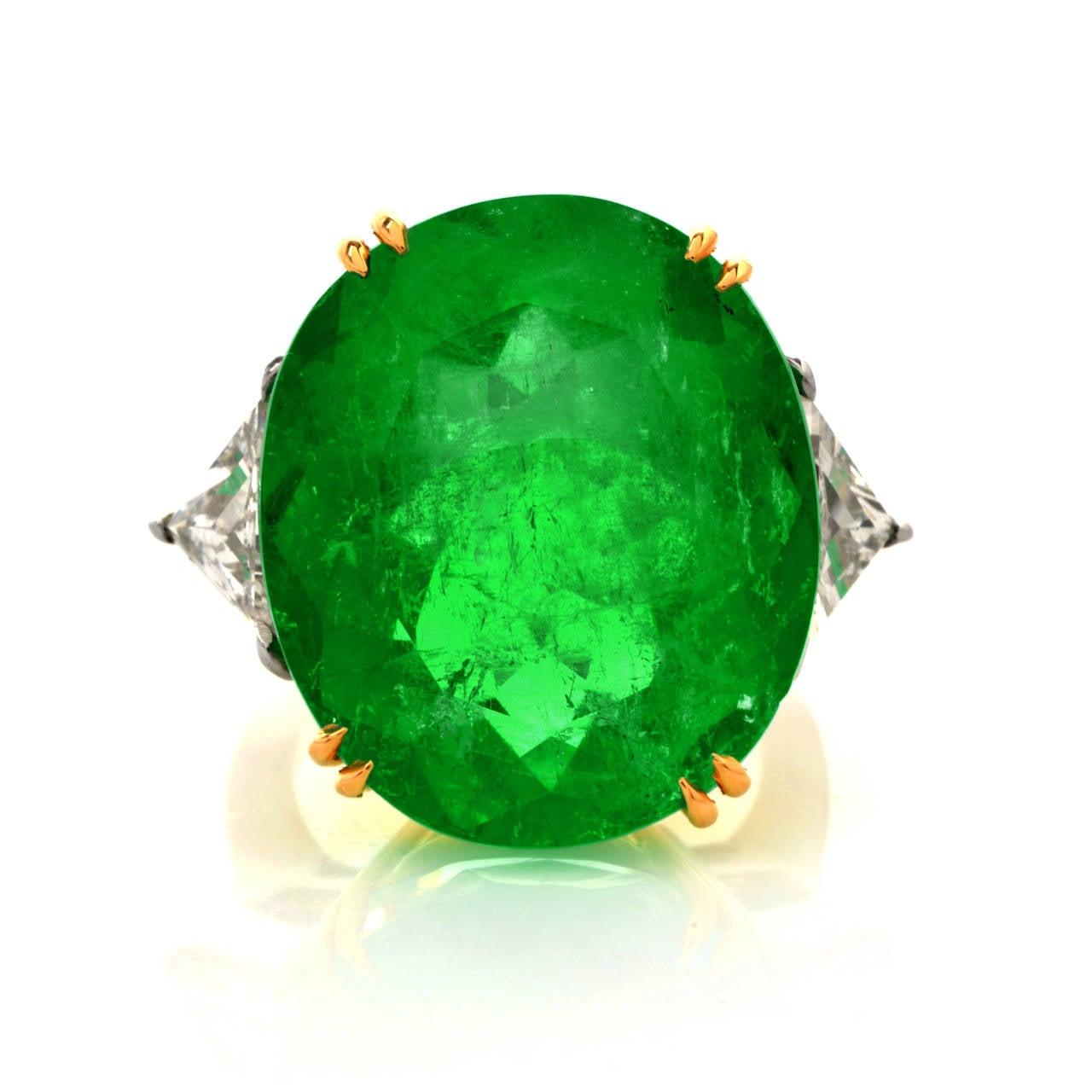 Emerald Diamond Gold Platinum Cocktail Ring 2