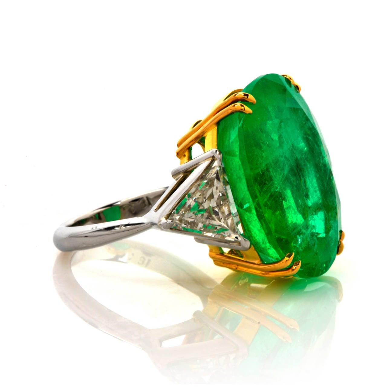 Emerald Diamond Gold Platinum Cocktail Ring 3