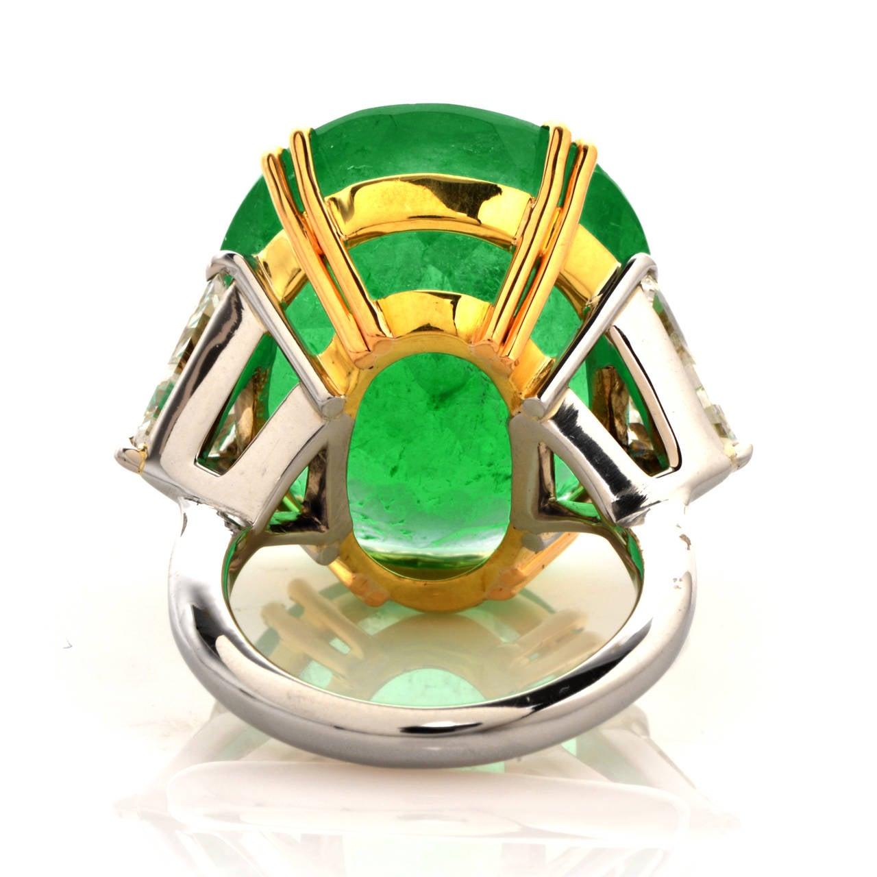 Emerald Diamond Gold Platinum Cocktail Ring 4