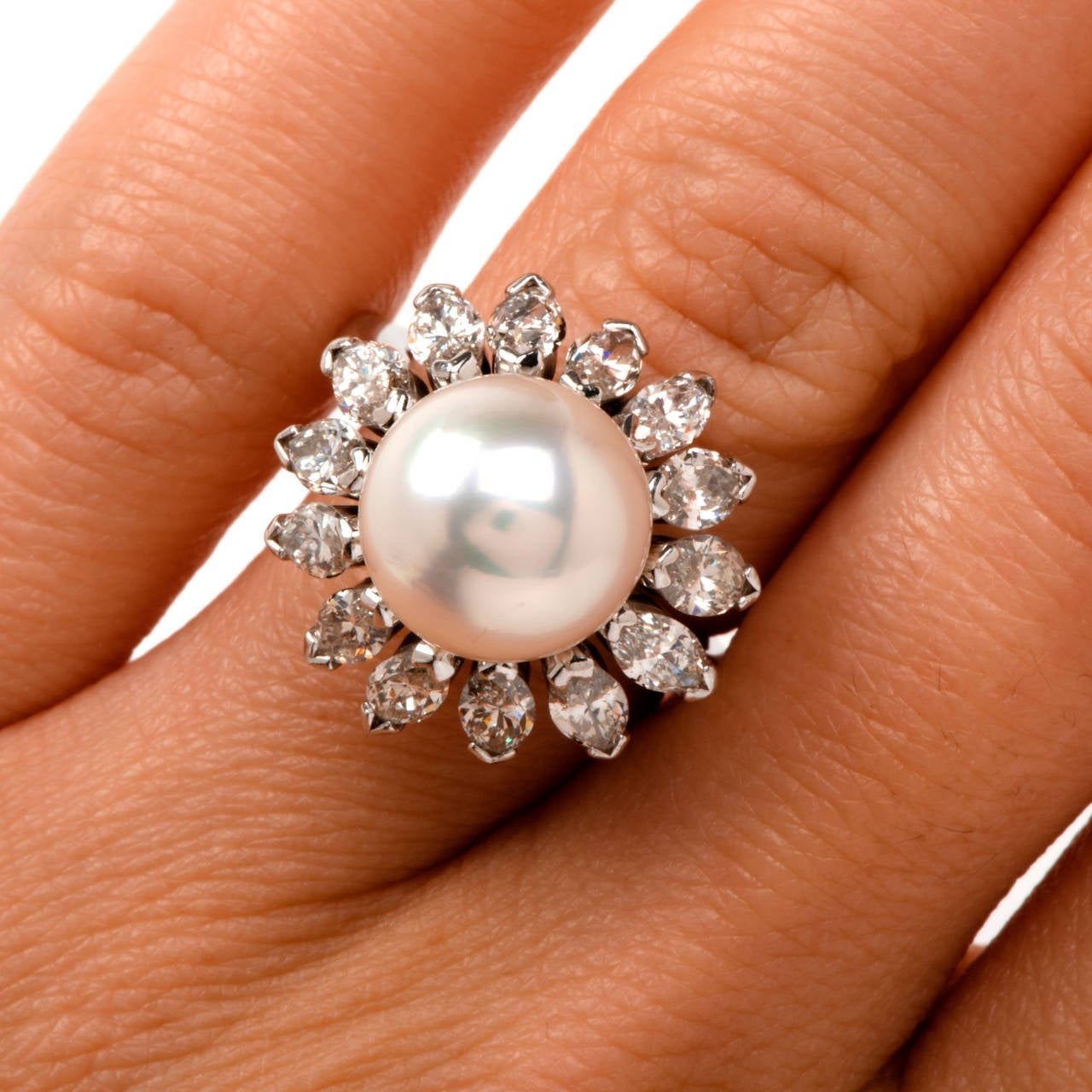 Pearl Marquise Diamond Gold Cocktail Ring For Sale At 1stdibs
