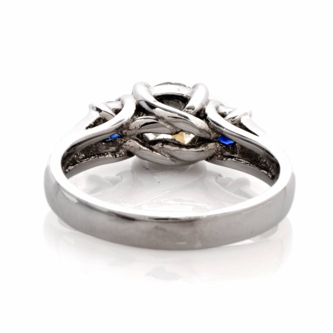 three sapphire platinum engagement ring for