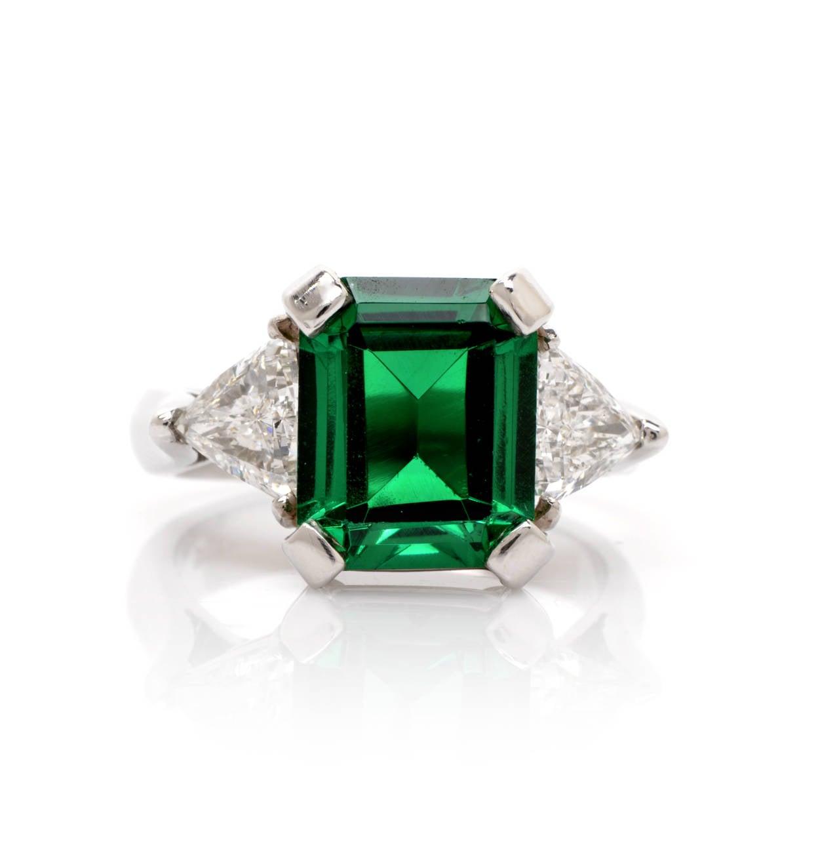Tourmaline Trillion-Cut Diamond Platinum Ring 2
