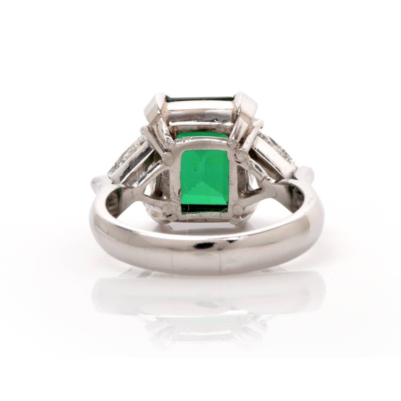 Tourmaline Trillion-Cut Diamond Platinum Ring 4