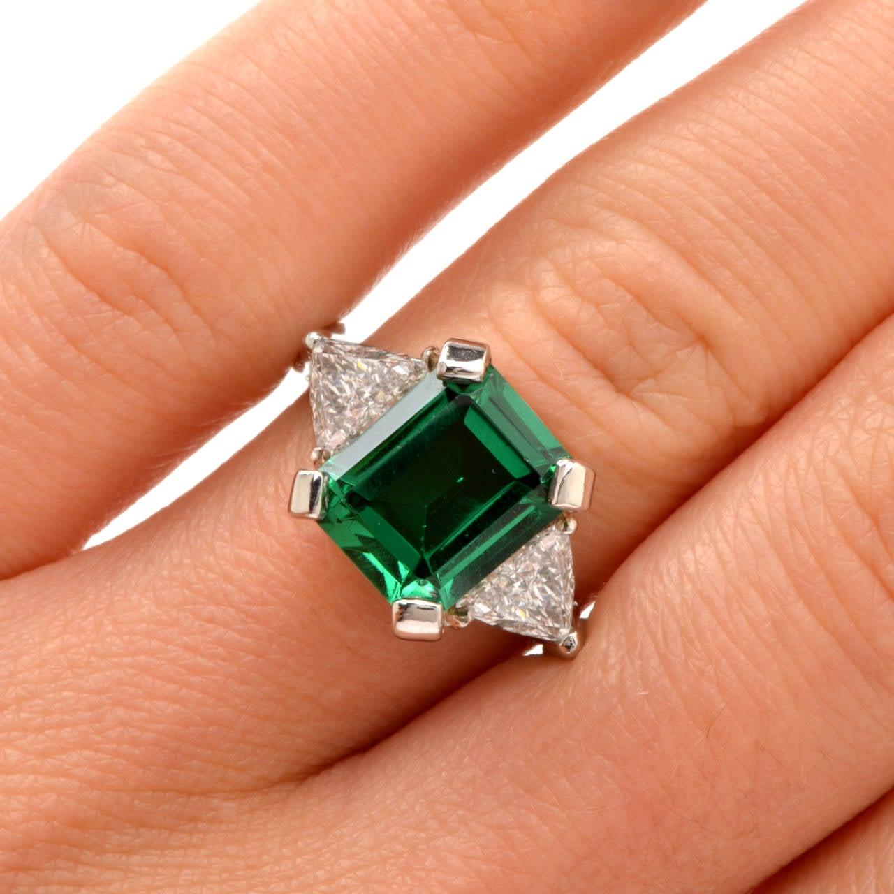 Tourmaline Trillion-Cut Diamond Platinum Ring 5