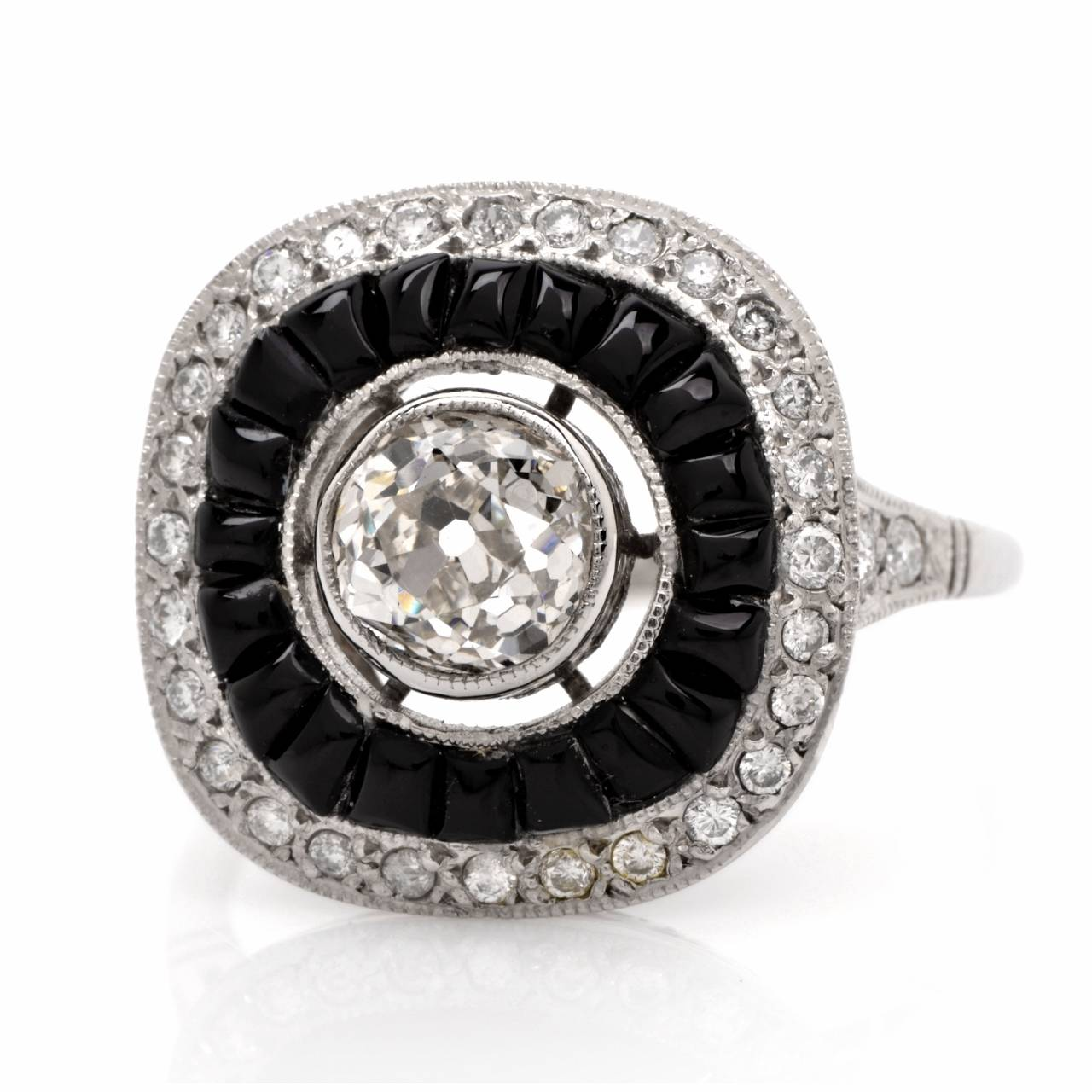 Art Deco Black yx Diamond Platinum Engagement Ring at 1stdibs