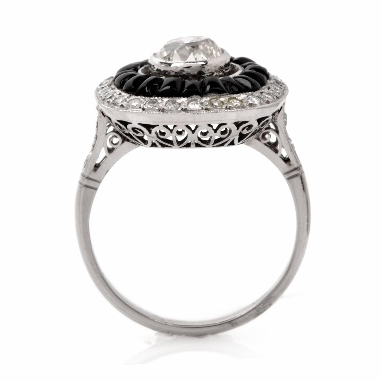 deco black onyx platinum engagement ring at
