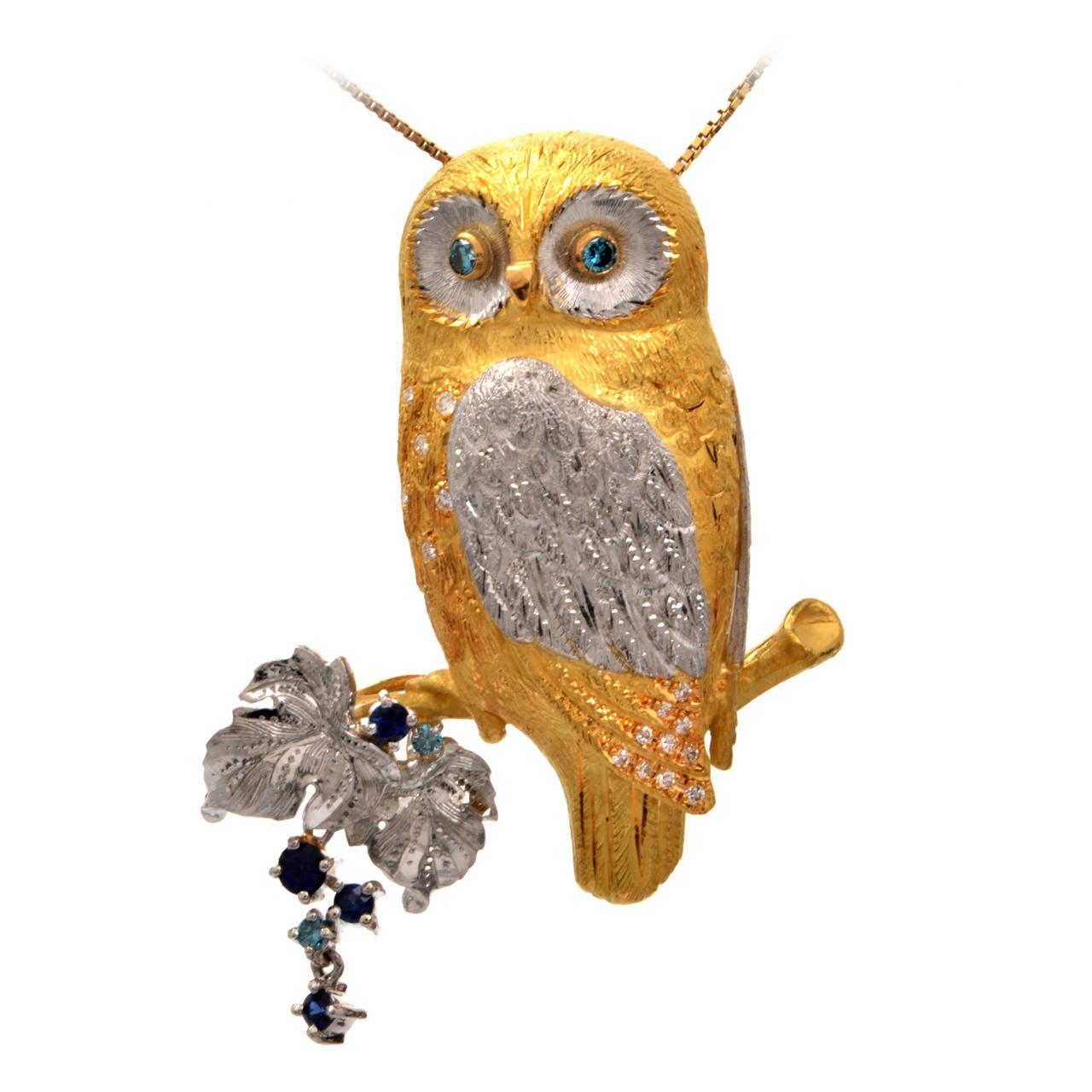Sapphire Diamond Gold Platinum Owl Brooch Pin Pendant 1