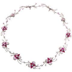 Stefan Hafner Sapphire Diamond Gold Flower Necklace