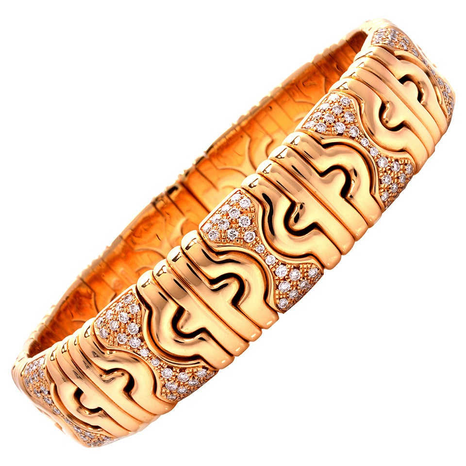 bff7535410859 Bulgari Diamond Gold Bangle Cuff Bracelet at 1stdibs