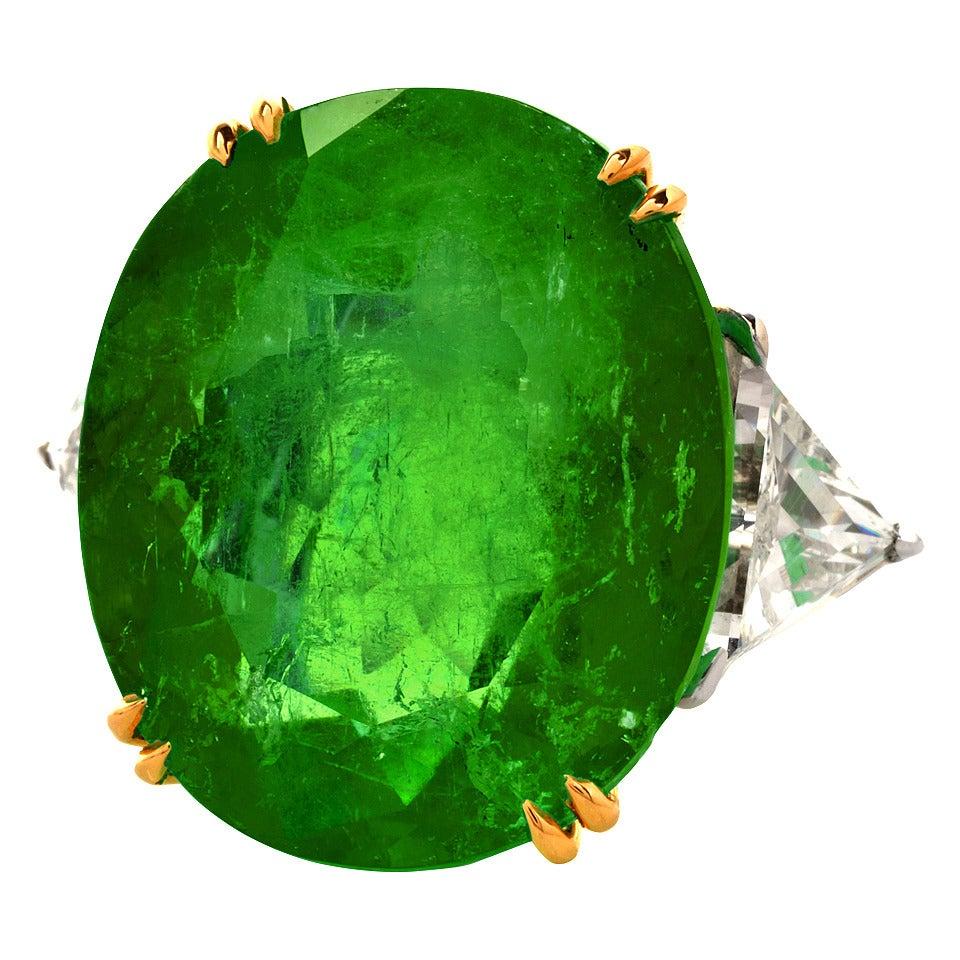 Emerald Diamond Gold Platinum Cocktail Ring 1
