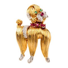 Tiffany & Co. Diamond Gold Dog Poodle Brooch Pin