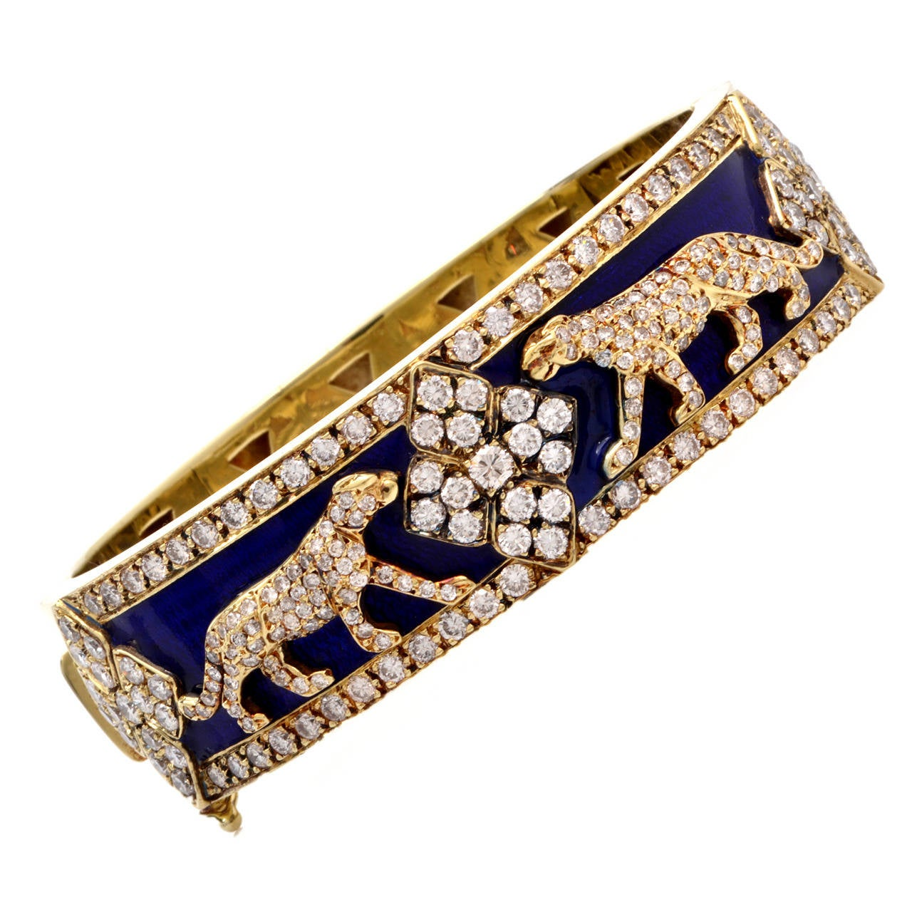 1960s Diamond Enamel Cobalt Gold Panther Wide Bangle
