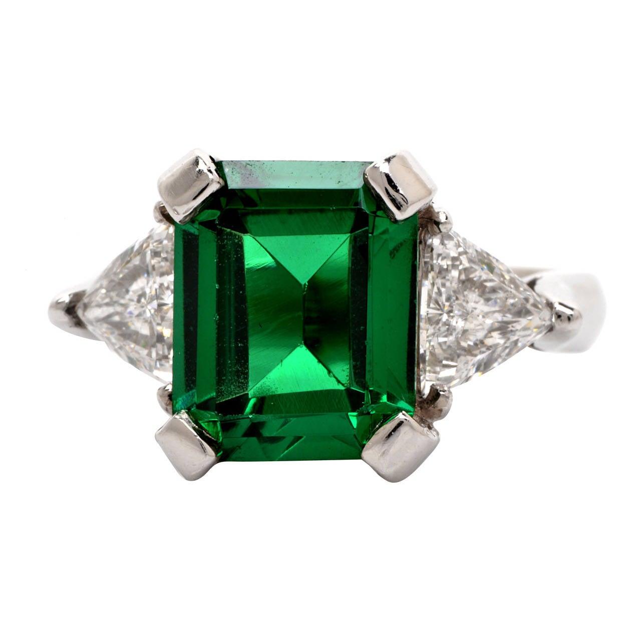 Tourmaline Trillion-Cut Diamond Platinum Ring 1