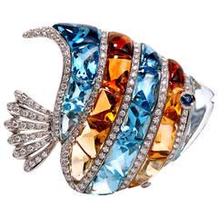 Garavelli Topaz Citrine Diamond Gold Fish Pin Brooch