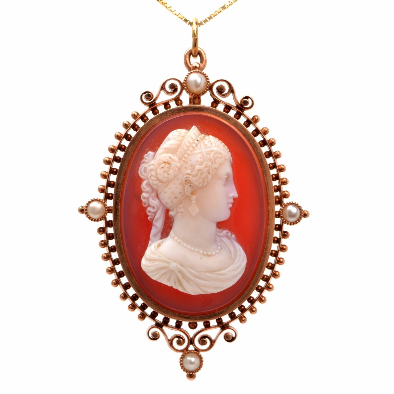 Victorian Shell Cameo Goddess Lady Rose Pearl and Gold Pendant and Pin Brooch 1