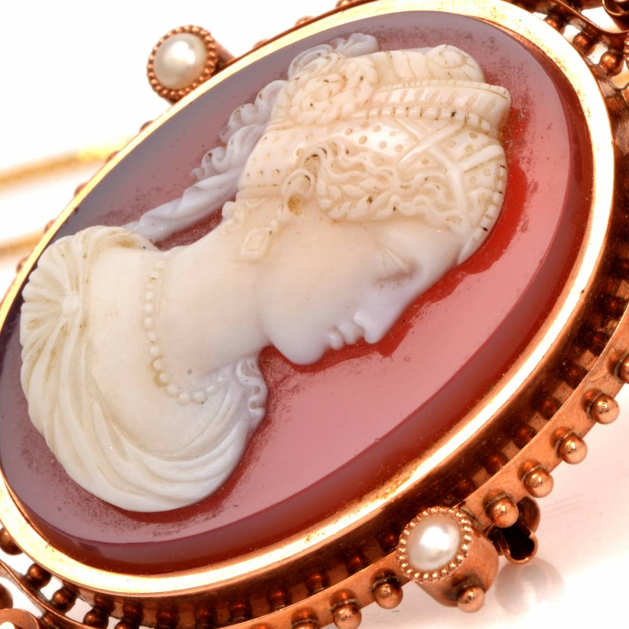 Victorian Shell Cameo Goddess Lady Rose Pearl and Gold Pendant and Pin Brooch 7
