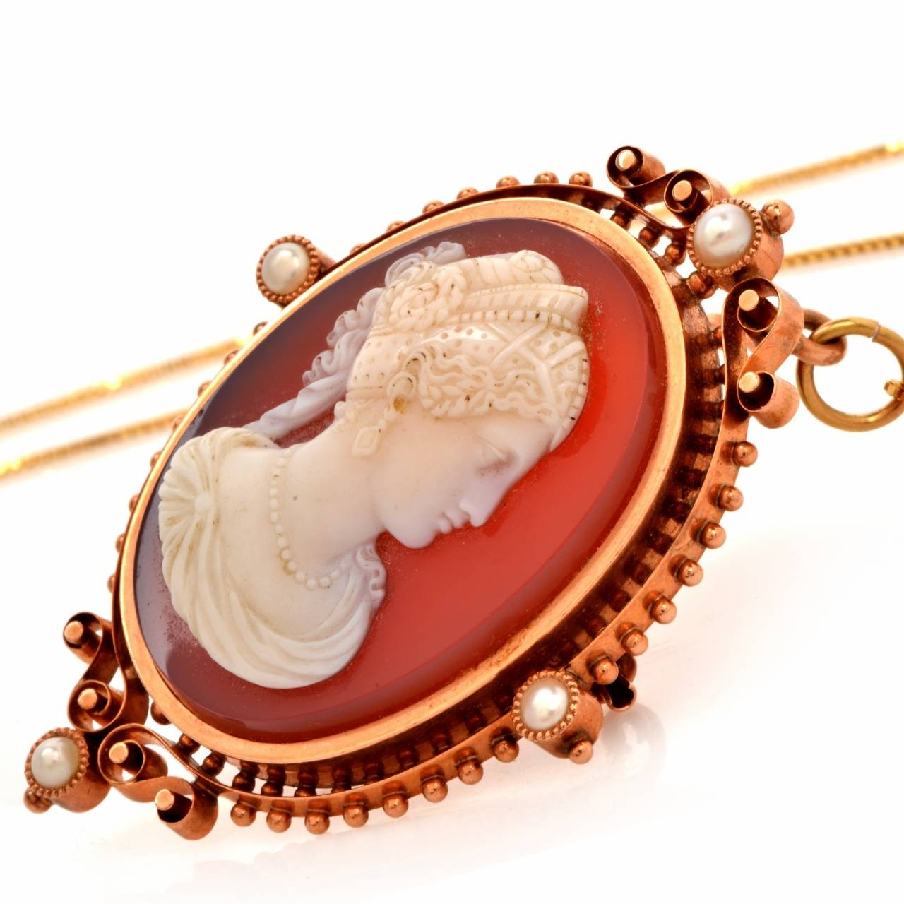 Victorian Shell Cameo Goddess Lady Rose Pearl and Gold Pendant and Pin Brooch 5