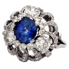 Vintage 5.77 Carat Sapphire Diamond Platinum Dome Shaped Cocktail Ring