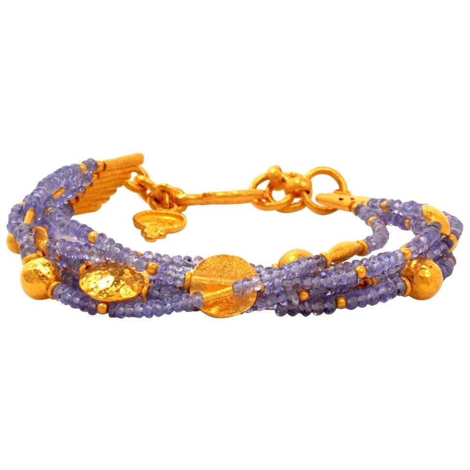 tanzanite bead gold bracelet at 1stdibs