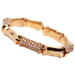 Diamond Gold Bamboo Cuff Bangle Bracelet