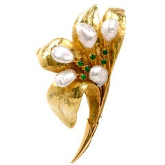 Hand-Hammered  Pearl Emerald Lily Gold Flower Pin Brooch