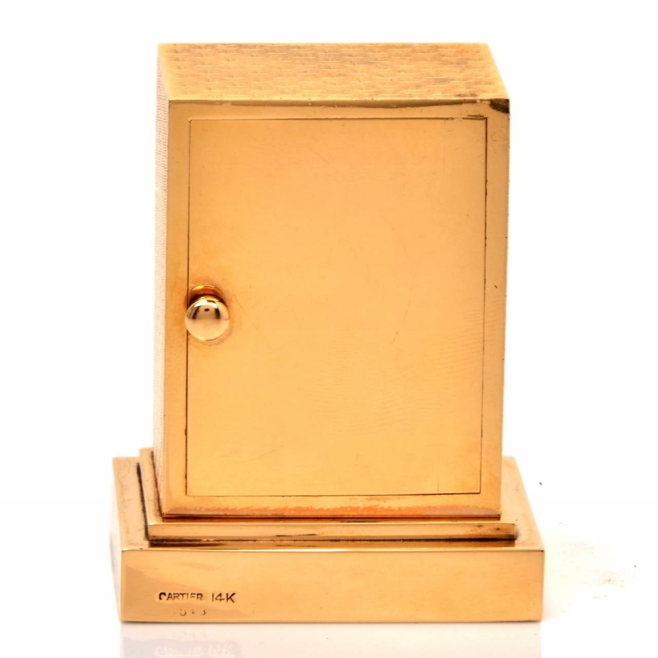 Cartier Vintage 14 Karat Gold Eight Day Accessory Desk Clock In Excellent Condition For Sale In Miami, FL