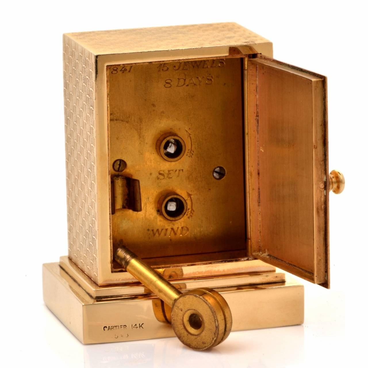 Cartier Vintage 14 Karat Gold Eight Day Accessory Desk Clock For Sale 3