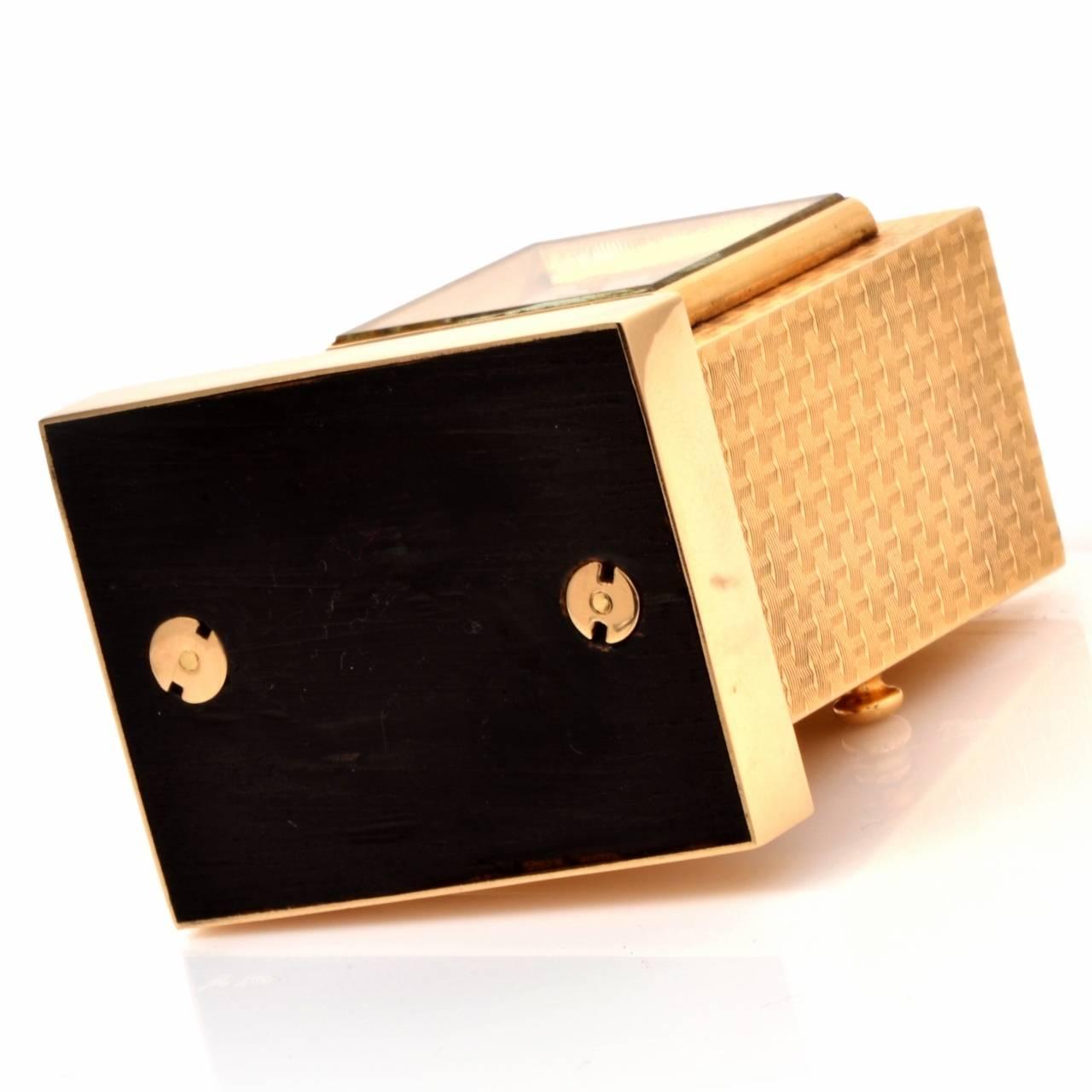 Cartier Vintage 14 Karat Gold Eight Day Accessory Desk Clock For Sale 2