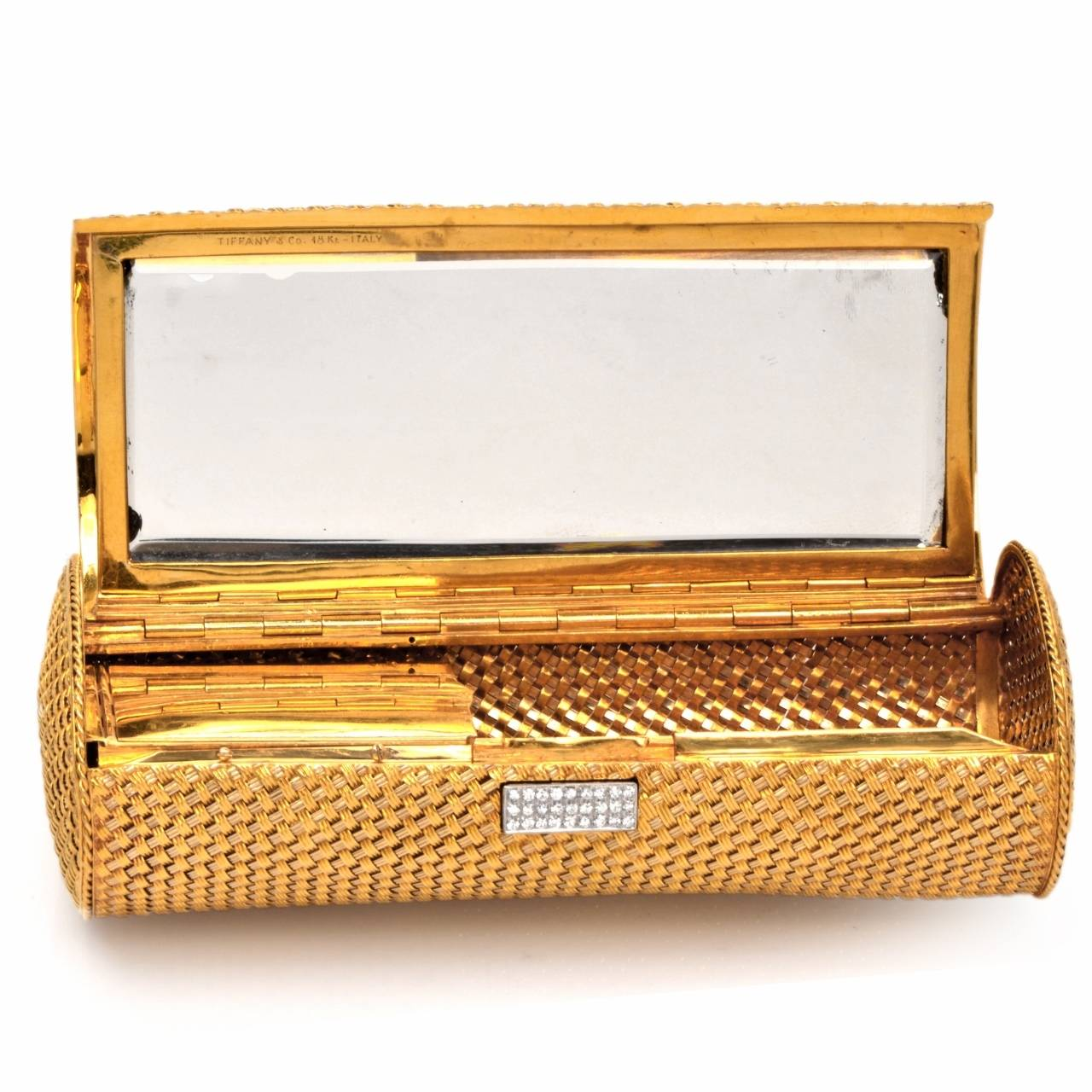 and co yellow gold clutch purse compact
