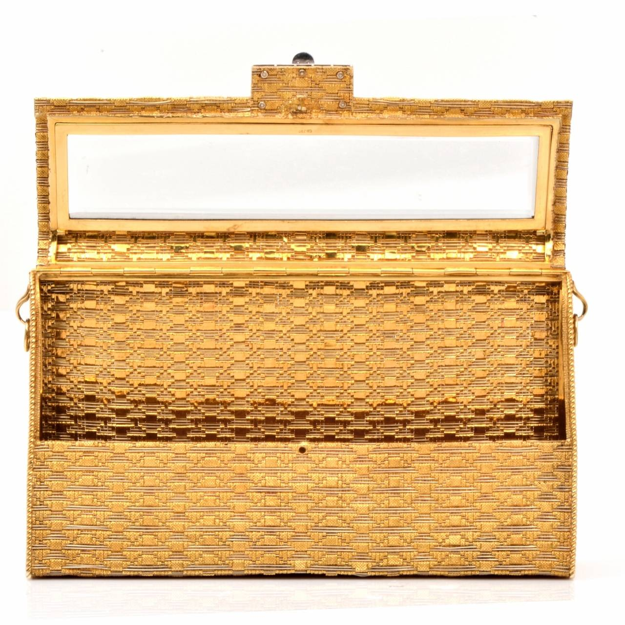 Impressive Diamond Gold Ladies Evening Clutch Bag at 1stdibs