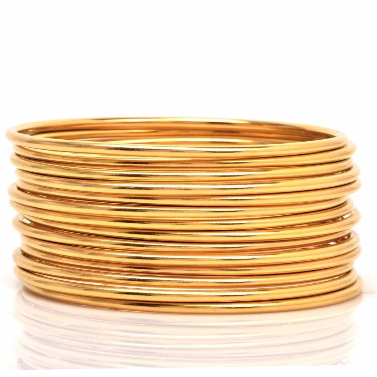 Stackable Gold Bangle Bracelets Set of 12 9