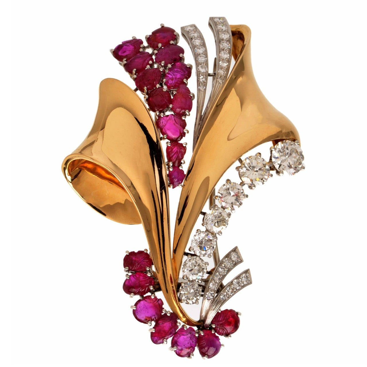 Impressive Retro Ruby Diamond Gold Pin Brooch