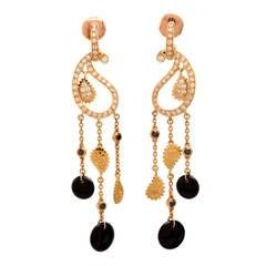 Carrera y Carrera Onyx Diamond Gold Protozoa Earrings
