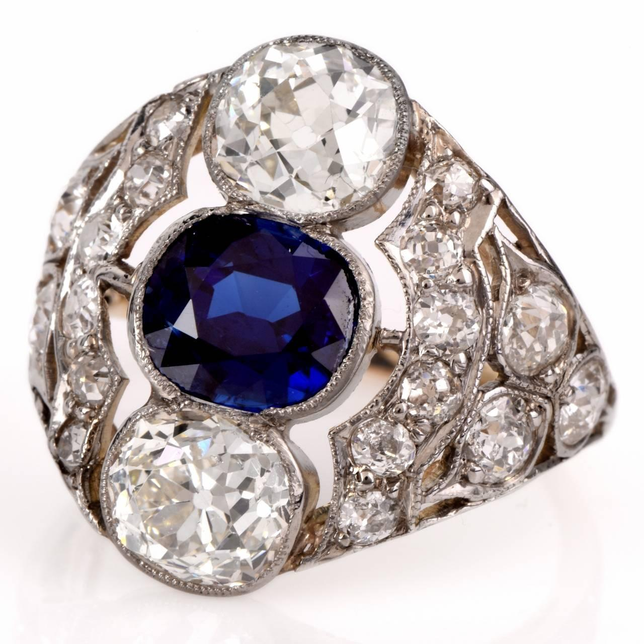 Antique Engagement Rings For Sale: Antique Sapphire Diamond Platinum Engagement Ring For Sale