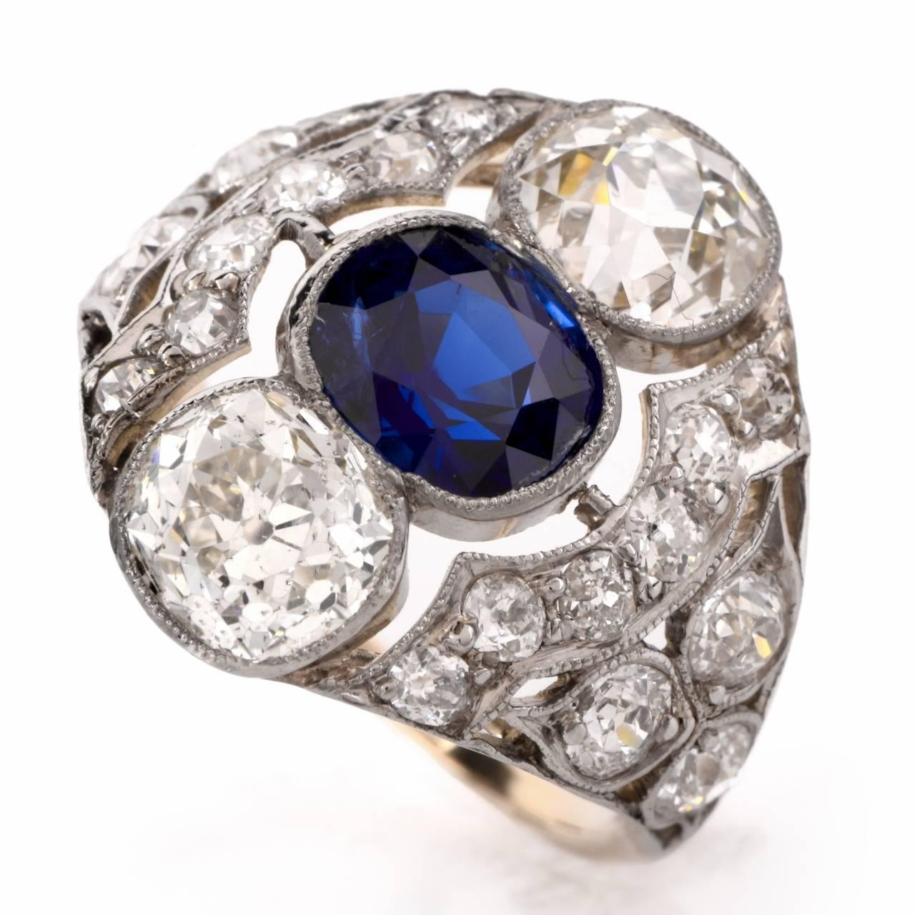 Antique Sapphire Diamond Platinum Engagement Ring For Sale at 1stdibs