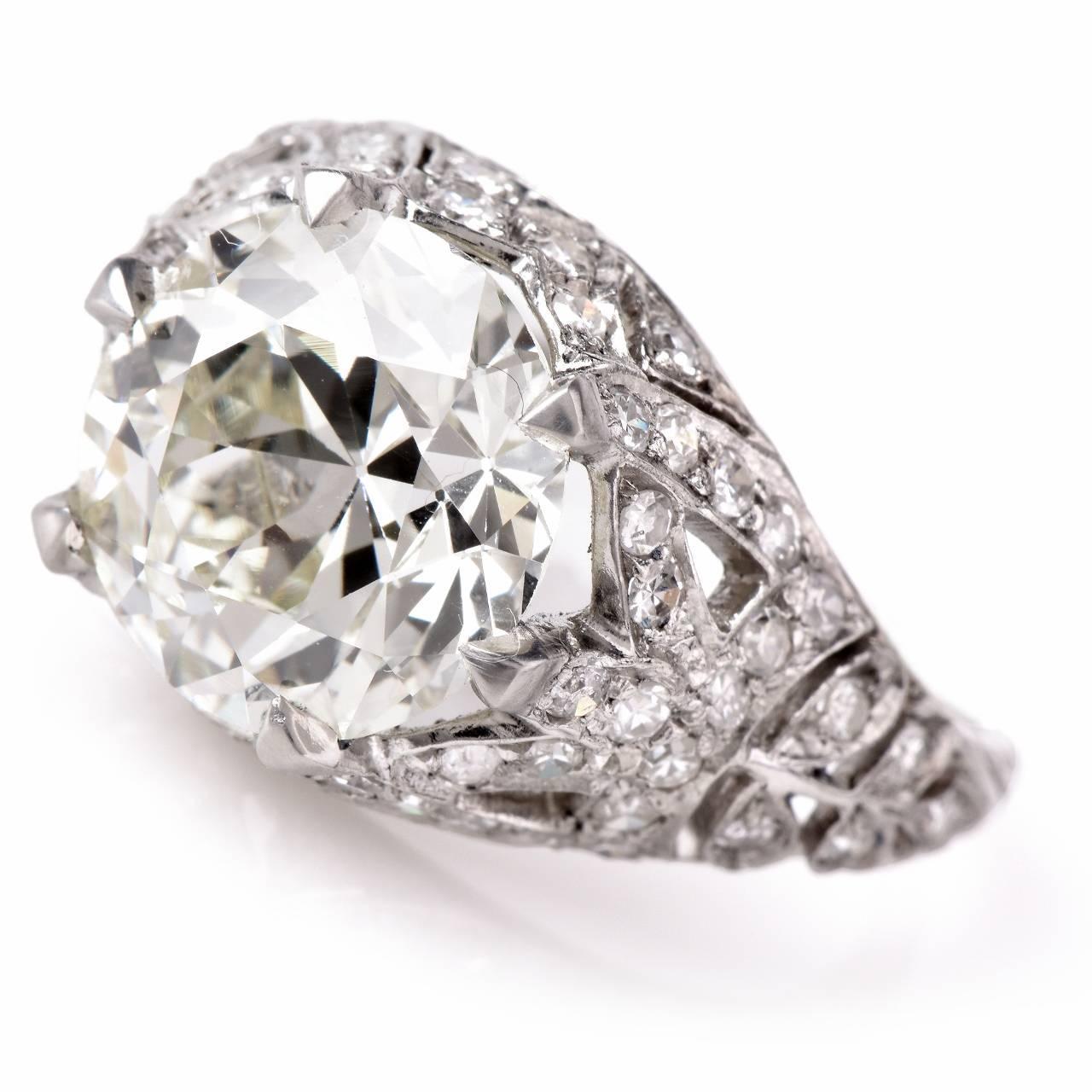 Antique 3 98 Carat Diamond Platinum Filigree Engagement Ring at 1stdibs