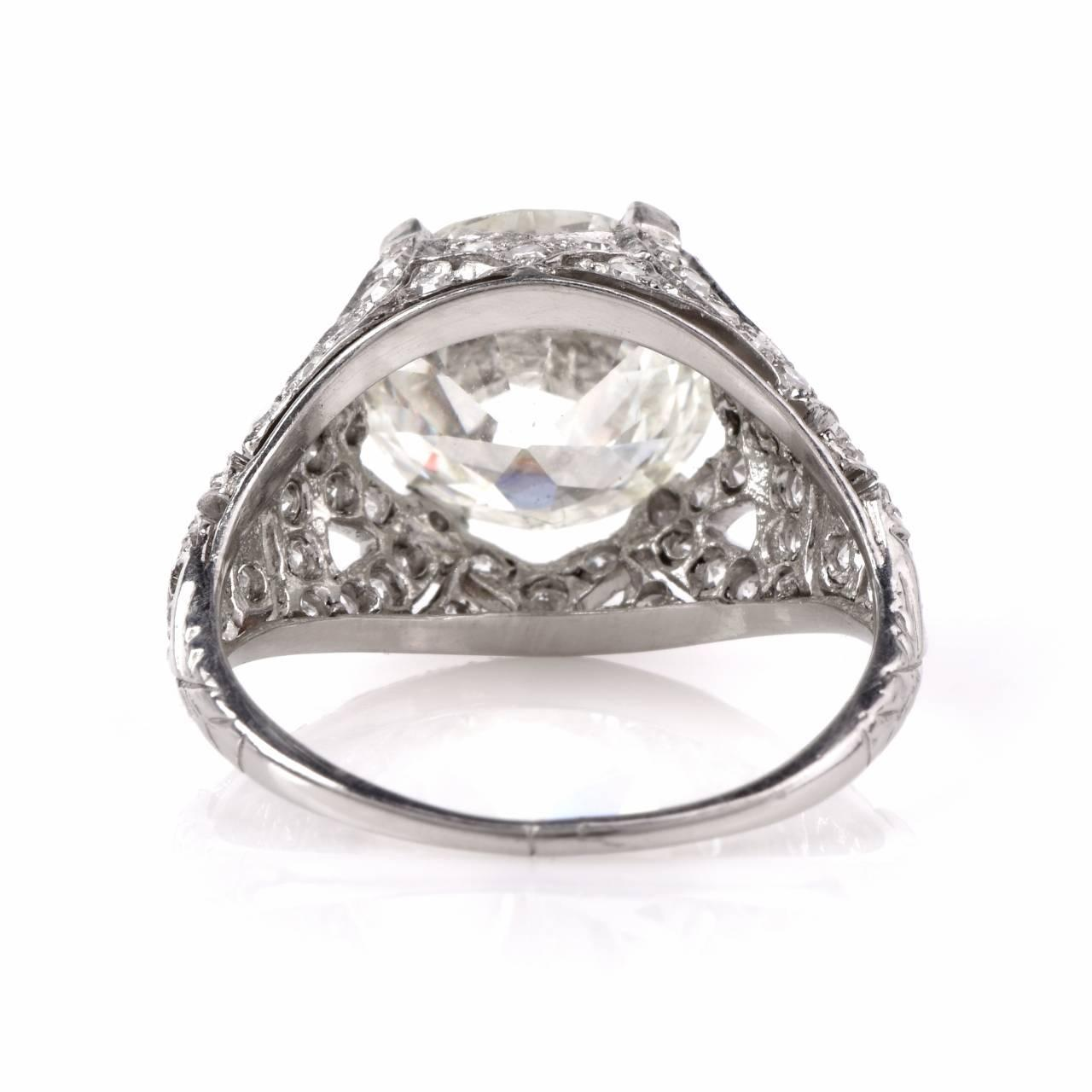 Antique 3 98 Carat Diamond Platinum Filigree Engagement Ring at 1stdibs