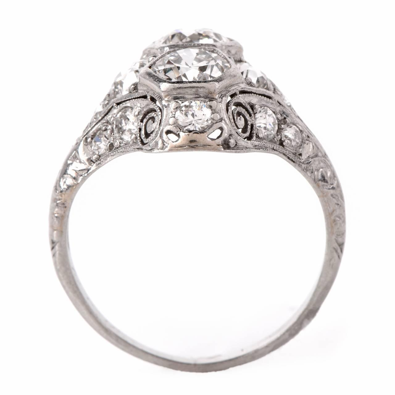 Antique Art Deco Diamond Platinum Filigree Engagement Ring at 1stdibs