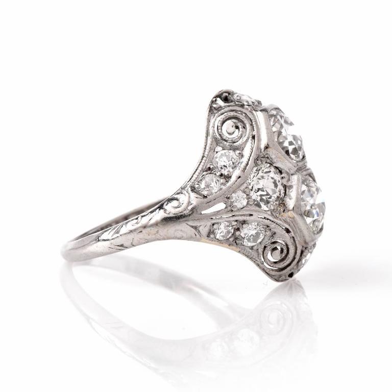 Antique Art Deco Diamond Platinum Filigree Engagement Ring at 1stdibs
