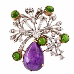 Multi Gem Diamond Two Color Gold Floral Pin Brooch
