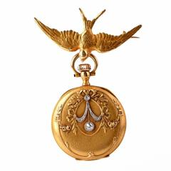 Antique Victorian Lady's Pocket Watch and Detachable Gold Bird Pin
