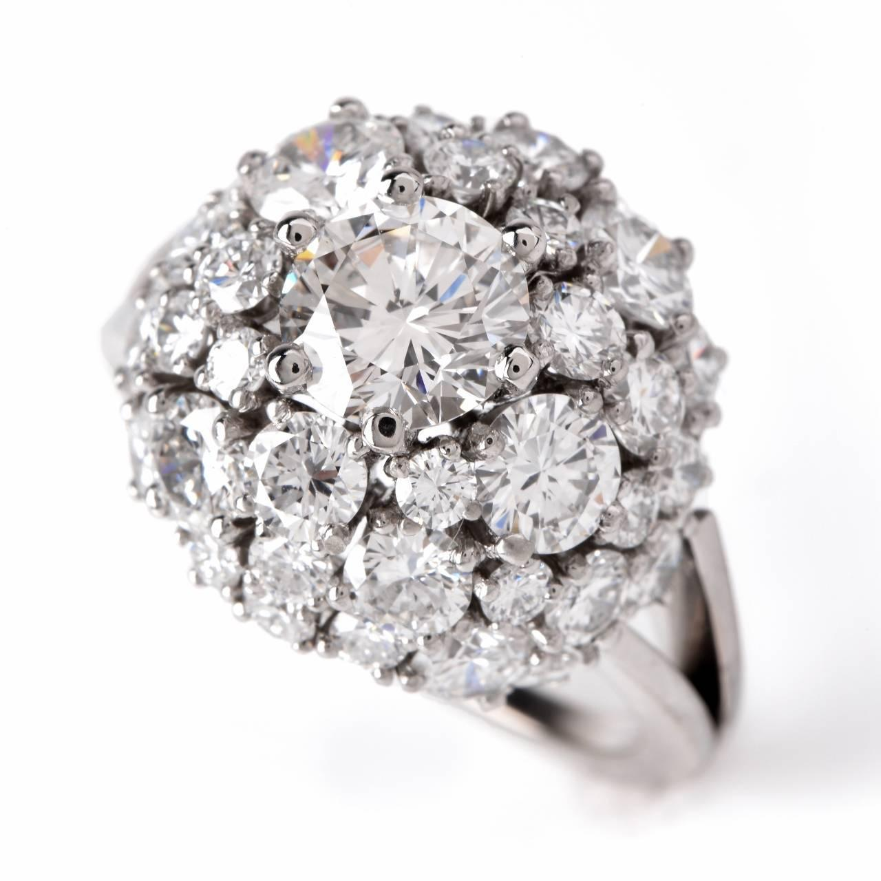 Diamond gold cluster engagement ring at 1stdibs for Cluster wedding rings