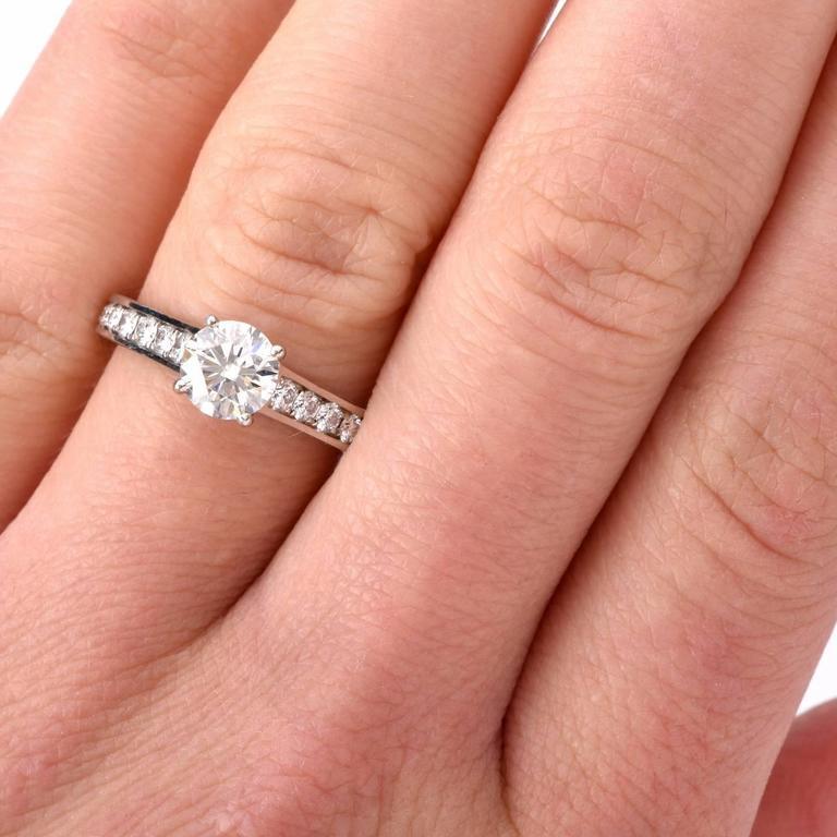 Cartier GIA Cert .90 Carat Diamond Platinum Engagement Ring 8