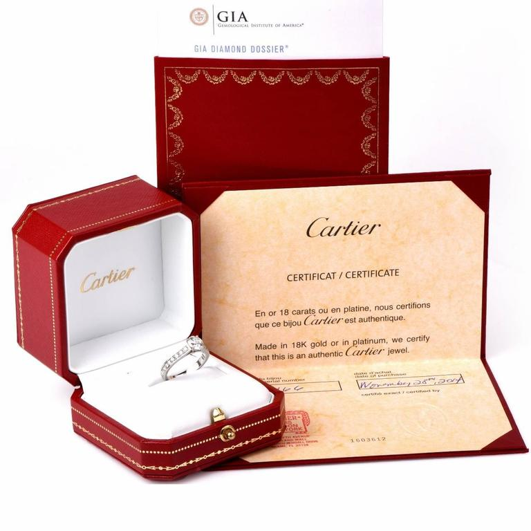 Cartier GIA Cert .90 Carat Diamond Platinum Engagement Ring For Sale 4