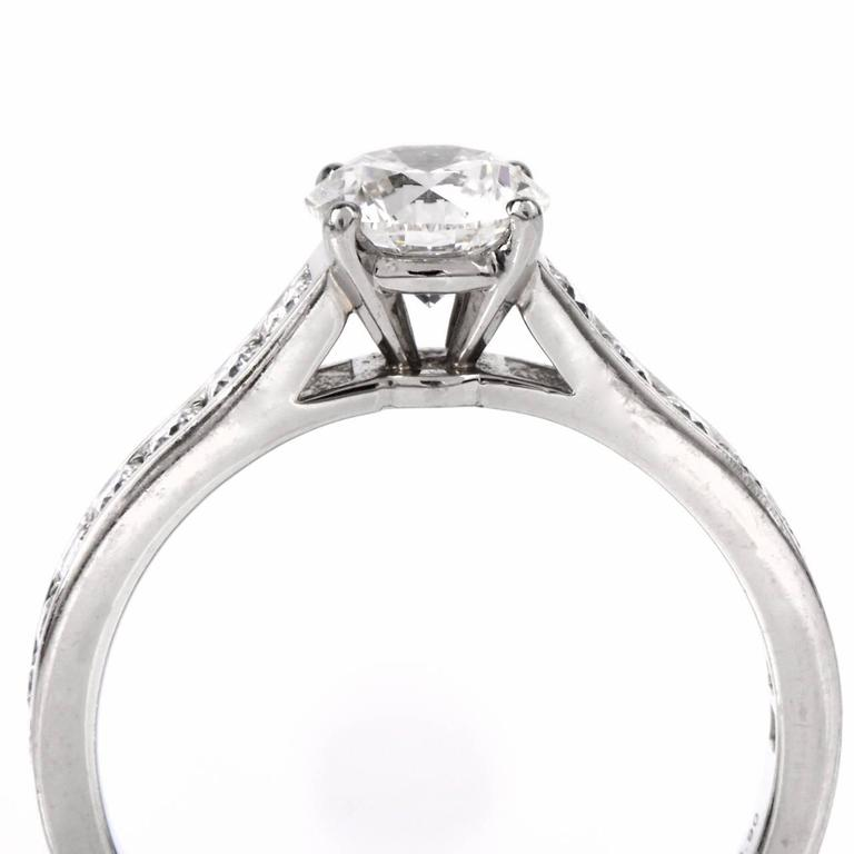 Cartier GIA Cert .90 Carat Diamond Platinum Engagement Ring In Excellent Condition For Sale In Miami, FL