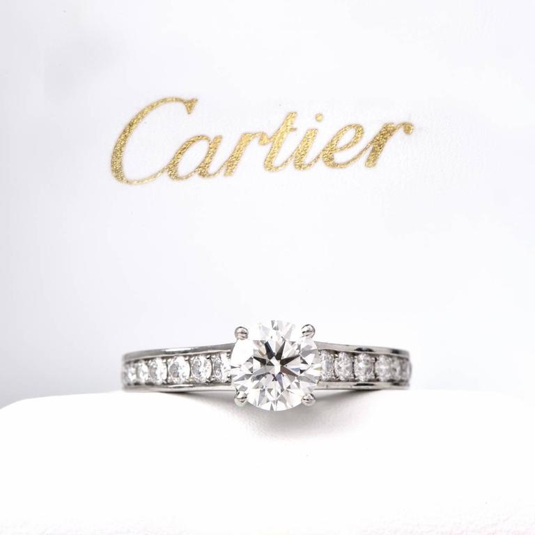 Women's Cartier GIA Cert .90 Carat Diamond Platinum Engagement Ring For Sale