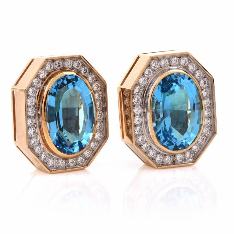 Retro Blue Topaz Diamond Gold Stud Clip-on Earrings 2
