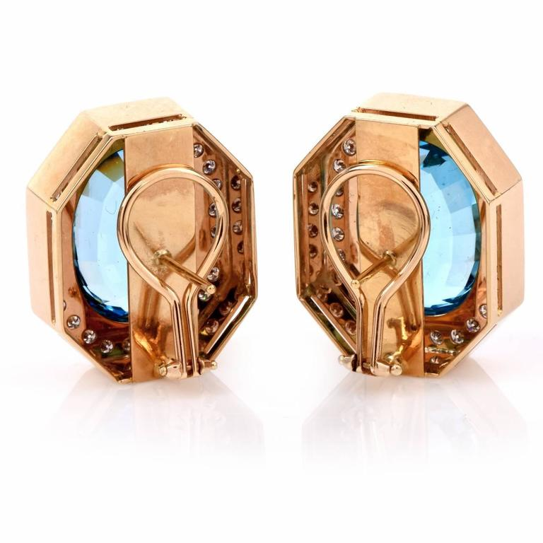Retro Blue Topaz Diamond Gold Stud Clip-on Earrings 3