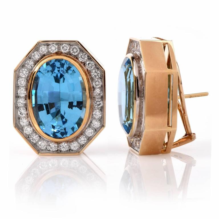 Retro Blue Topaz Diamond Gold Stud Clip-on Earrings 4